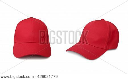 Red Cap Isolated On White. Sport Hat Set. Baseball Uniform Aceessory.