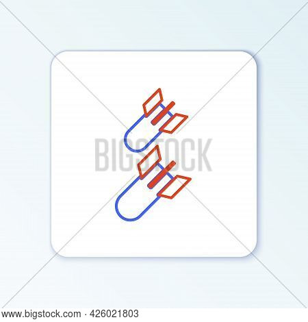 Line Aviation Bomb Icon Isolated On White Background. Rocket Bomb Flies Down. Colorful Outline Conce