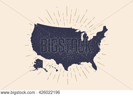 Usa. Poster Map Of United States Of America. Print Map Of Usa For T-shirt, Poster. Hand-drawn Map In