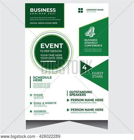Green And White Modern Business Event Flyer Design Template