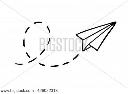 Vector Paper Airplane. Hand-drawn Doodle Airplane Isolated On White Background.