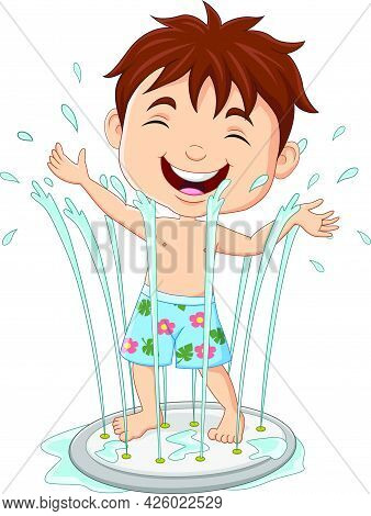 Vector Illustration Of Cartoon Little Boy Playing Water Fountain
