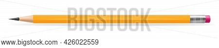 Realistic Yellow Pencil Sharpened With Pink Rubber Band. Vector Illustration Isolated On White Backg