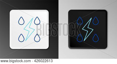 Line Storm Icon Isolated On Grey Background. Drop And Lightning Sign. Weather Icon Of Storm. Colorfu