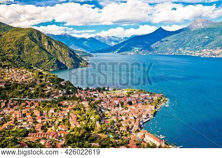 Como Lake And Town Of Menaggio Aerial View, Lombardy Region Of Italy