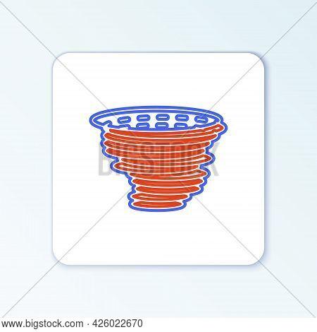 Line Tornado Icon Isolated On White Background. Cyclone, Whirlwind, Storm Funnel, Hurricane Wind Or