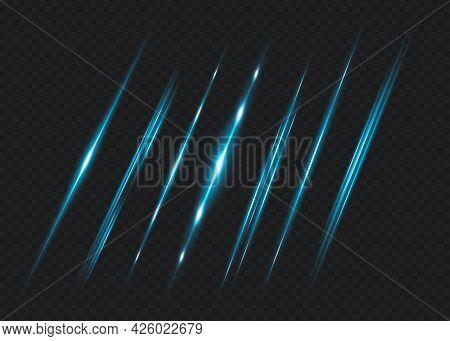 Blue Horizontal Lens Flares Pack. Laser Beams, Horizontal Light Rays.beautiful Light Flares. Glowing