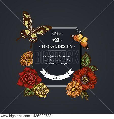 Dark Badge Design With Poppy Flower, Calendula, Plain Tiger, Papilio Torquatus, Roses Stock Illustra