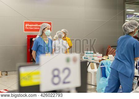 June 7th, 2021- At Bang Sue Grand Station Bangkok Thailand : Young Medical Care Preapare Vaccine Aga