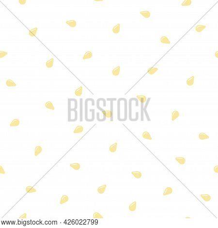 Seamless Pattern With White Sesame Seeds. Scattered Sesame Seeds. Vector Illustration On Color Backg