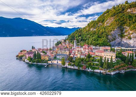 Como Lake And Town Of Varenna Aerial View, Lombardy Region Of Italy