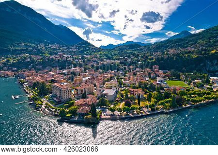 Como Lake And Town Of Menaggio Waterfront Aerial View, Lombardy Region Of Italy