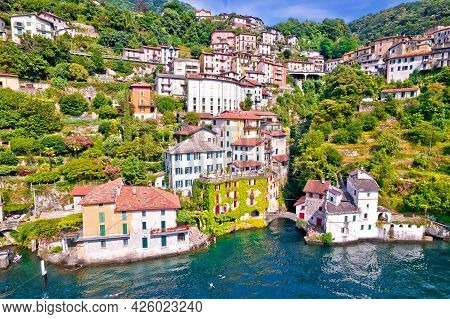 Town Of Nesso On Steep Cliffs And Creek Waterfall On Como Lake Aerial Waterfront View, Lombardy Regi