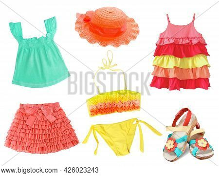 Summer Clothes Set.child Girl's Apparel Bright Beach Clothing Collage.stylish Baby Wear Isolated.