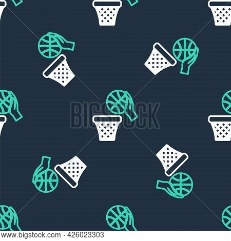 Line Basketball Ball And Basket Icon Isolated Seamless Pattern On Black Background. Ball In Basketba