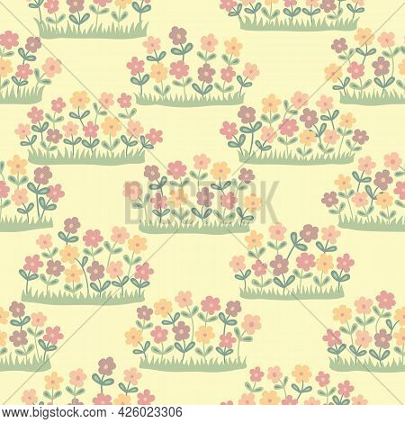 Cream And Multicolor Pastel Wildflowers Seamless Repeating Pattern.