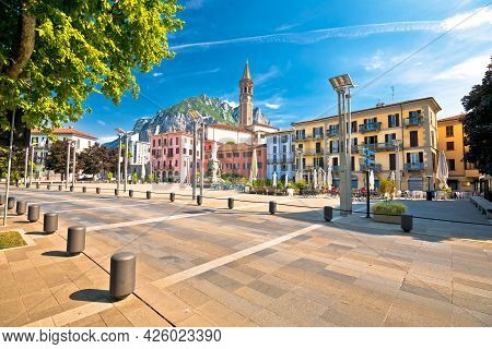 Town Of Lecco On Como Lake Central Square And Church View, Lombardy Region Of Italy