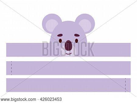 Printable Koala Paper Crown. Diy Cut Party Ribbon Template For Birthday, Christmas, Baby Shower. Fun