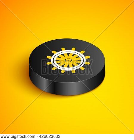 Isometric Line Ship Steering Wheel Icon Isolated On Yellow Background. Black Circle Button. Vector