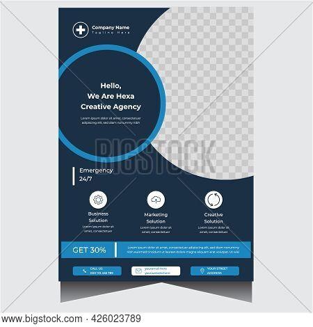 Blue And Dark Creative Medical Flyer Design Template