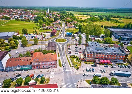 Town Of Garesnica Aerial Panoramic View, Moslavina Region Of Northern Croatia
