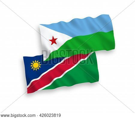 National Fabric Wave Flags Of Republic Of Djibouti And Republic Of Namibia Isolated On White Backgro