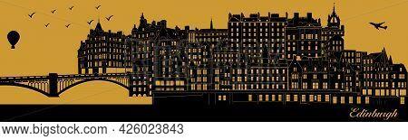 Vector City Skyline Silhouette - Illustration,  Town In Gold Background,  Edinburgh Scotland