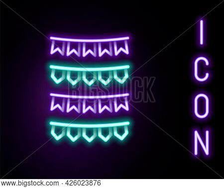 Glowing Neon Line Carnival Garland With Flags Icon Isolated On Black Background. Party Pennants For