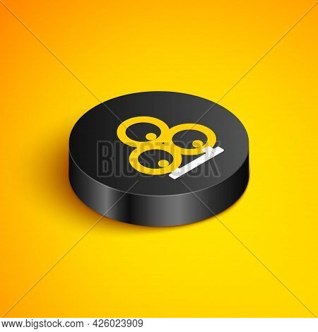 Isometric Line Wooden Barrels Icon Isolated On Yellow Background. Alcohol Barrel, Drink Container, W