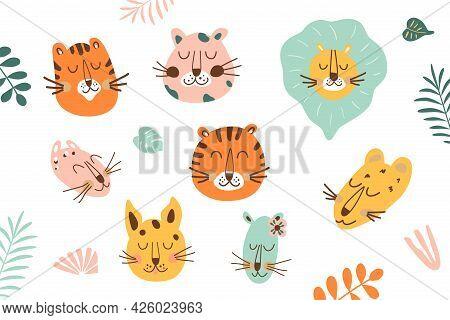 Jungle Animal Face Set. Jungle Animal Head. Funny Tiger, Lion, Leopard, Jaguar Head. Cartoon Animals