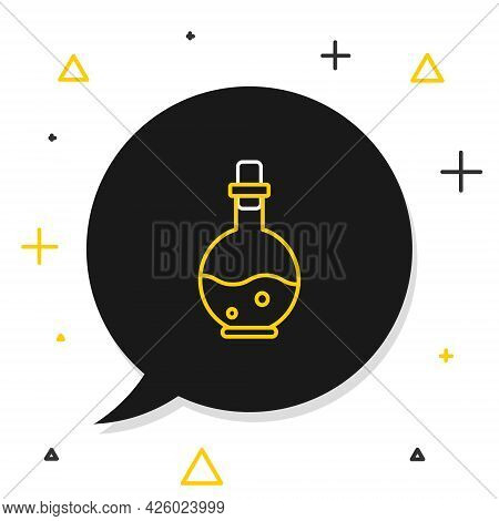 Line Glass Bottle With Magic Elixir Icon Isolated On White Background. Computer Game Asset. Colorful