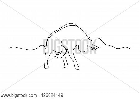One Line Drawing Of A Bull. Mascot Concept Of Big And Strong Bull For Rodeo. Continuous Line Modern