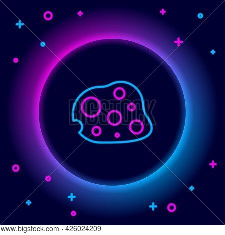 Glowing Neon Line Asteroid Icon Isolated On Black Background. Colorful Outline Concept. Vector