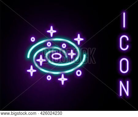 Glowing Neon Line Milky Way Spiral Galaxy With Stars Icon Isolated On Black Background. Colorful Out