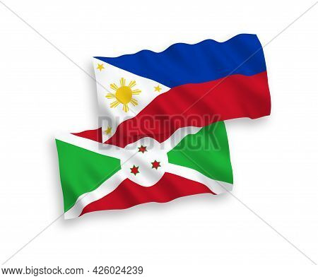 National Fabric Wave Flags Of Burundi And Philippines Isolated On White Background. 1 To 2 Proportio