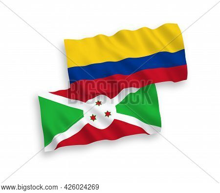 National Fabric Wave Flags Of Burundi And Colombia Isolated On White Background. 1 To 2 Proportion.