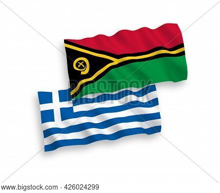 National Fabric Wave Flags Of Greece And Republic Of Vanuatu Isolated On White Background. 1 To 2 Pr