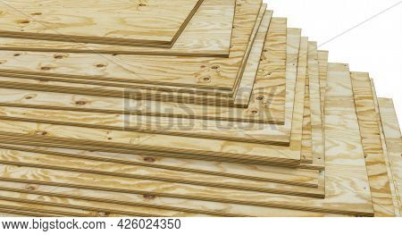 stacked pine plywood panels. construction industry. 3d render.
