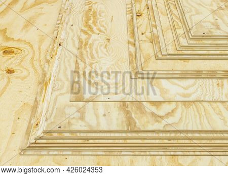 thin stacked pine plywood panels. construction industry. 3d render.