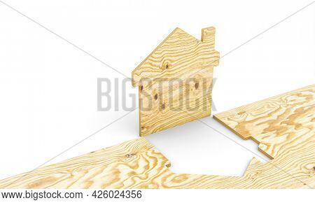 wooden house obtained from a plywood panel. sustainable eco construction concept. 3d render.