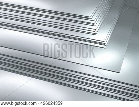 stacked metal sheets. metallurgical industry. 3d render.