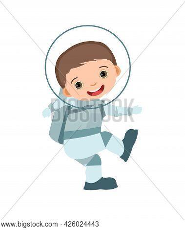 Child Astronaut In A Spacesuit. Kid. Boy. Childrens Illustration. Flat Style. Cartoon Design. Isolat
