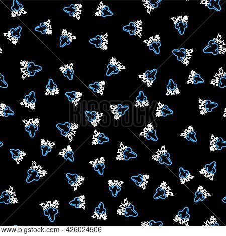 Line Runny Nose Icon Isolated Seamless Pattern On Black Background. Rhinitis Symptoms, Treatment. No
