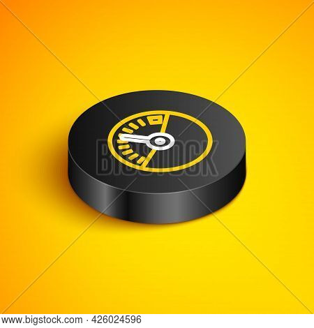 Isometric Line Speedometer Icon Isolated On Yellow Background. Black Circle Button. Vector