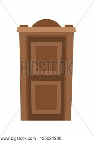 Door Is Closed. Doorway Of House Or Apartment. Entrance Is Outside. Cheerful Cartoon Style. Isolated