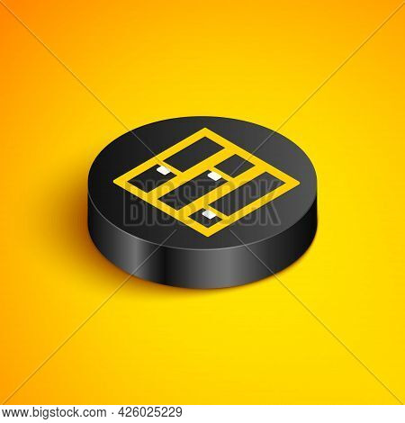 Isometric Line Shelf Icon Isolated On Yellow Background. Shelves Sign. Black Circle Button. Vector
