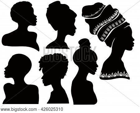 Profiles Of Black Women. Silhouettes Of African American Women In A Head Wrap. Beautiful Black Girls