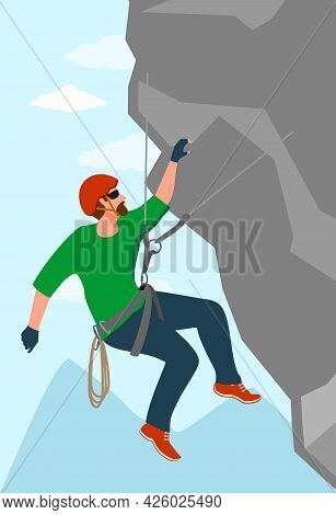 A Man Is Engaged In Extreme Sports, A Climber Is Training On Rocks, Strength And Endurance Training.