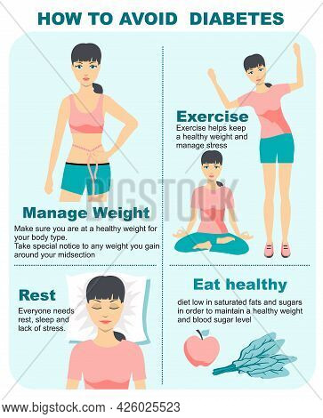 Diabetes Infographics. How To Avoid Diabetes. Diabetes Infographic Composition With Prevention Tips