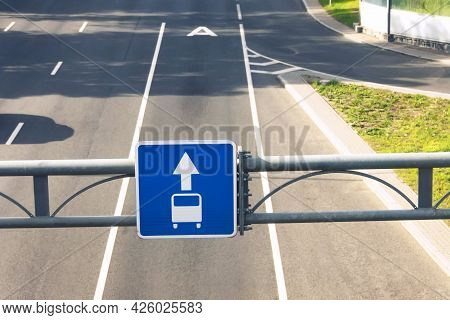 Dedicated Lane For Bus, Public Transport. Highway And Road Sign.